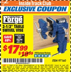 "Harbor Freight ITC Coupon 2-1/2"" TABLE SWIVEL VISE Lot No. 97160 Expired: 3/31/19 - $17.99"