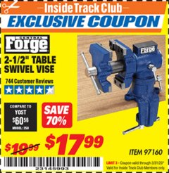 "Harbor Freight ITC Coupon 2-1/2"" TABLE SWIVEL VISE Lot No. 97160 Expired: 3/31/20 - $17.99"
