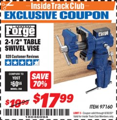 "Harbor Freight ITC Coupon 2-1/2"" TABLE SWIVEL VISE Lot No. 97160 Expired: 6/30/20 - $17.99"