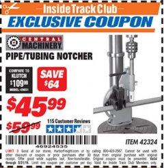 Harbor Freight ITC Coupon PIPE/TUBING NOTCHER Lot No. 42324 Expired: 5/31/19 - $45.99