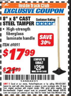 "Harbor Freight ITC Coupon 8"" X 8"" CAST STEEL TAMPER Lot No. 69891 Expired: 5/31/18 - $17.99"