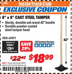"Harbor Freight ITC Coupon 8"" X 8"" CAST STEEL TAMPER Lot No. 69891 Valid: 2/1/20 - 2/29/20 - $18.99"