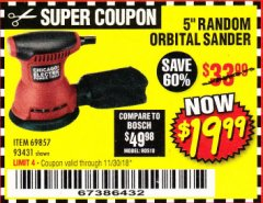 "Harbor Freight Coupon BAUER 5"" RANDOM ORBITAL PALM SANDER Lot No. 63999 Expired: 11/30/18 - $19.99"