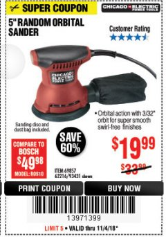 "Harbor Freight Coupon BAUER 5"" RANDOM ORBITAL PALM SANDER Lot No. 63999 Expired: 11/4/18 - $19.99"