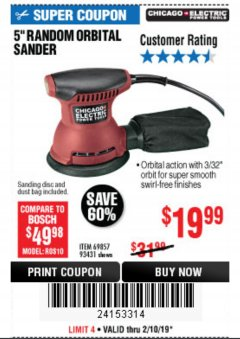 "Harbor Freight Coupon BAUER 5"" RANDOM ORBITAL PALM SANDER Lot No. 63999 Expired: 2/10/19 - $19.99"