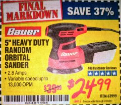 "Harbor Freight Coupon BAUER 5"" RANDOM ORBITAL PALM SANDER Lot No. 63999 Expired: 2/29/20 - $24.99"