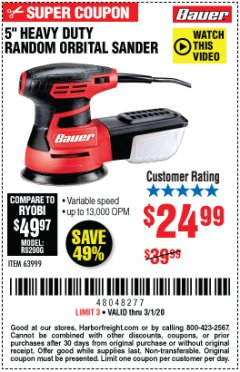 "Harbor Freight Coupon BAUER 5"" RANDOM ORBITAL PALM SANDER Lot No. 63999 Expired: 3/1/20 - $24.99"
