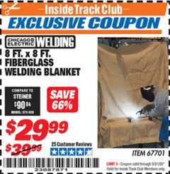 Harbor Freight ITC Coupon 8 FT. X 8 FT. FIBERGLASS WELDING BLANKET Lot No. 67701 Expired: 3/31/20 - $29.99