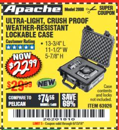 Harbor Freight Coupon APACHE 2800 CASE Lot No. 63926/64551 Expired: 6/18/18 - $22.99