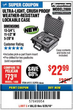 Harbor Freight Coupon APACHE 2800 CASE Lot No. 63926/64551 Expired: 8/26/18 - $22.99