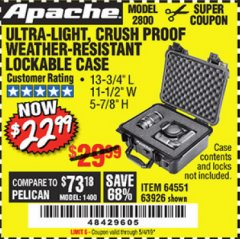 Harbor Freight Coupon APACHE 2800 CASE Lot No. 63926/64551 Expired: 5/4/19 - $22.99