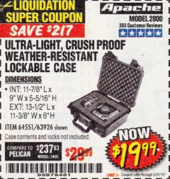 Harbor Freight Coupon APACHE 2800 CASE Lot No. 63926/64551 Expired: 5/31/19 - $19.99