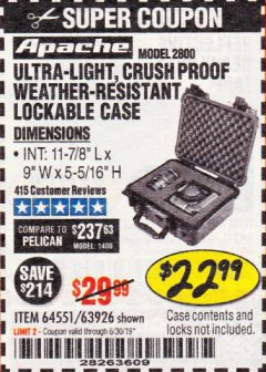Harbor Freight Coupon APACHE 2800 CASE Lot No. 63926/64551 Expired: 6/30/19 - $22.99