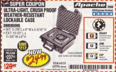 Harbor Freight Coupon APACHE 2800 CASE Lot No. 63926/64551 Expired: 10/31/19 - $24.99