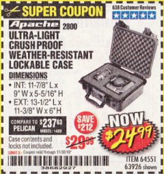 Harbor Freight Coupon APACHE 2800 CASE Lot No. 63926/64551 Expired: 11/30/19 - $24.99
