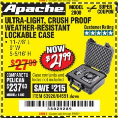 Harbor Freight Coupon APACHE 2800 CASE Lot No. 63926/64551 Expired: 6/30/20 - $21.99