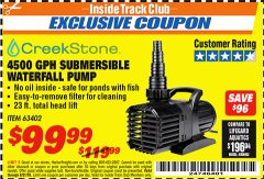 Harbor Freight ITC Coupon CREEKSTONE 4500GPH SUBMERSIBLE WATERFALL PUMP Lot No. 63402 Expired: 8/31/18 - $99.99