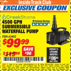 Harbor Freight ITC Coupon CREEKSTONE 4500GPH SUBMERSIBLE WATERFALL PUMP Lot No. 63402 Expired: 3/31/19 - $99.99