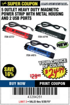 Harbor Freight Coupon 5 OUTLET MAGNETIC POWER STRIP Lot No. 63737 Expired: 9/30/19 - $24.99
