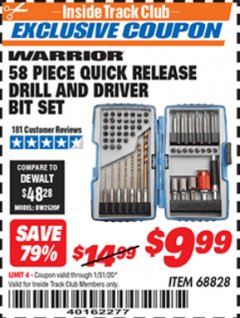 Harbor Freight ITC Coupon 58 PIECE QUICK RELEASE DRILL AND DRIVER BIT SET Lot No. 68828 Expired: 1/31/20 - $9.99