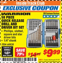 Harbor Freight ITC Coupon 58 PIECE QUICK RELEASE DRILL AND DRIVER BIT SET Lot No. 68828 Expired: 3/31/20 - $9.99
