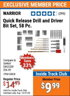 Harbor Freight ITC Coupon 58 PIECE QUICK RELEASE DRILL AND DRIVER BIT SET Lot No. 68828 Valid Thru: 10/31/20 - $9.99
