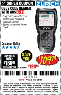 Harbor Freight Coupon ZURICH OBD2 CODE READER WITH ABS ZR11 Lot No. 63807 EXPIRES: 6/30/20 - $109.99