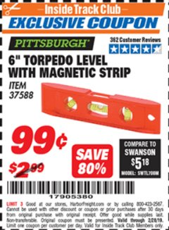 "Harbor Freight ITC Coupon 6"" TORPEDO LEVEL WITH MAGNETIC STRIP Lot No. 37588 Expired: 2/28/19 - $0.99"