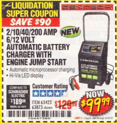 Harbor Freight Coupon 2/10/40/200 AMP 6/12 VOLT AUTOMATIC BATTERY CHARGER WITH ENGINE JUMP START Lot No. 63873/56422 Expired: 6/30/18 - $99.99
