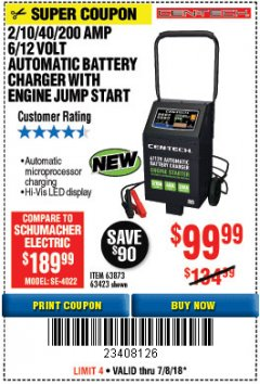 Harbor Freight Coupon 2/10/40/200 AMP 6/12 VOLT AUTOMATIC BATTERY CHARGER WITH ENGINE JUMP START Lot No. 63873/56422 Expired: 7/8/18 - $99.99