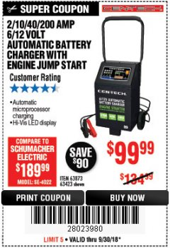 Harbor Freight Coupon 2/10/40/200 AMP 6/12 VOLT AUTOMATIC BATTERY CHARGER WITH ENGINE JUMP START Lot No. 63873/56422 Expired: 9/30/18 - $99.99