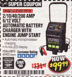 Harbor Freight Coupon 2/10/40/200 AMP 6/12 VOLT AUTOMATIC BATTERY CHARGER WITH ENGINE JUMP START Lot No. 63873/56422 Expired: 11/30/18 - $99.99