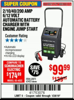 Harbor Freight Coupon 2/10/40/200 AMP 6/12 VOLT AUTOMATIC BATTERY CHARGER WITH ENGINE JUMP START Lot No. 63873/56422 Expired: 1/28/19 - $99.99