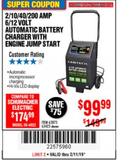 Harbor Freight Coupon 2/10/40/200 AMP 6/12 VOLT AUTOMATIC BATTERY CHARGER WITH ENGINE JUMP START Lot No. 63873/56422 Expired: 2/11/19 - $99.99