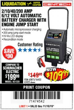 Harbor Freight Coupon 2/10/40/200 AMP 6/12 VOLT AUTOMATIC BATTERY CHARGER WITH ENGINE JUMP START Lot No. 63873/56422 Expired: 11/10/19 - $109.99