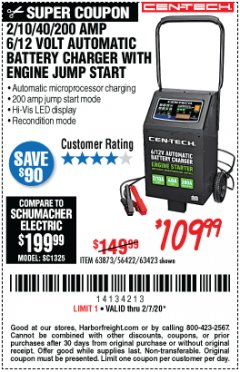 Harbor Freight Coupon 2/10/40/200 AMP 6/12 VOLT AUTOMATIC BATTERY CHARGER WITH ENGINE JUMP START Lot No. 63873/56422 Expired: 2/7/20 - $109.99