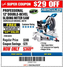 "Harbor Freight Coupon HERCULES PROFESSIONAL 12"" DOUBLE-BEVEL SLIDING MITER SAW Lot No. 63978/56682 Expired: 6/10/18 - $369.99"