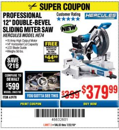 "Harbor Freight Coupon HERCULES PROFESSIONAL 12"" DOUBLE-BEVEL SLIDING MITER SAW Lot No. 63978/56682 Expired: 7/22/18 - $379.99"