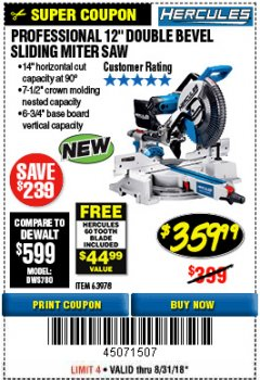 "Harbor Freight Coupon HERCULES PROFESSIONAL 12"" DOUBLE-BEVEL SLIDING MITER SAW Lot No. 63978/56682 Expired: 7/27/18 - $359.99"