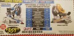 "Harbor Freight Coupon HERCULES PROFESSIONAL 12"" DOUBLE-BEVEL SLIDING MITER SAW Lot No. 63978/56682 Expired: 8/31/18 - $359.99"