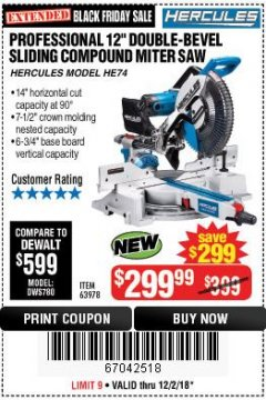 "Harbor Freight Coupon HERCULES PROFESSIONAL 12"" DOUBLE-BEVEL SLIDING MITER SAW Lot No. 63978/56682 Expired: 12/2/18 - $299.99"