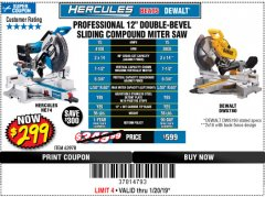 "Harbor Freight Coupon HERCULES PROFESSIONAL 12"" DOUBLE-BEVEL SLIDING MITER SAW Lot No. 63978/56682 Expired: 1/20/19 - $299"