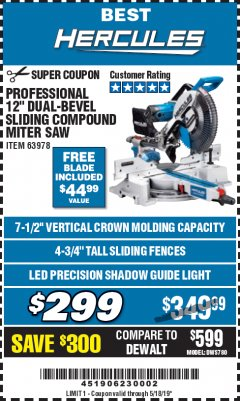 "Harbor Freight Coupon HERCULES PROFESSIONAL 12"" DOUBLE-BEVEL SLIDING MITER SAW Lot No. 63978/56682 Expired: 5/18/19 - $299"