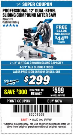 "Harbor Freight Coupon HERCULES PROFESSIONAL 12"" DOUBLE-BEVEL SLIDING MITER SAW Lot No. 63978/56682 Expired: 3/17/19 - $299"