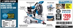 "Harbor Freight Coupon HERCULES PROFESSIONAL 12"" DOUBLE-BEVEL SLIDING MITER SAW Lot No. 63978/56682 Expired: 5/5/19 - $299.99"