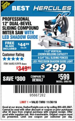 "Harbor Freight Coupon HERCULES PROFESSIONAL 12"" DOUBLE-BEVEL SLIDING MITER SAW Lot No. 63978/56682 Expired: 11/30/19 - $299"