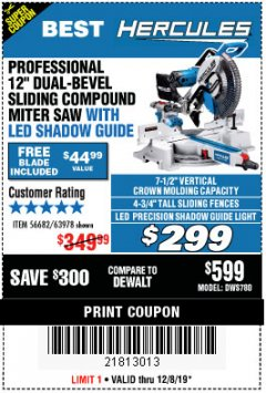 "Harbor Freight Coupon HERCULES PROFESSIONAL 12"" DOUBLE-BEVEL SLIDING MITER SAW Lot No. 63978/56682 Expired: 12/8/19 - $299"