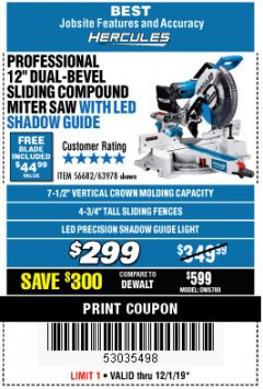 "Harbor Freight Coupon HERCULES PROFESSIONAL 12"" DOUBLE-BEVEL SLIDING MITER SAW Lot No. 63978/56682 Expired: 12/1/19 - $2.99"