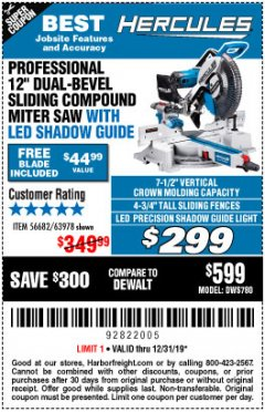 "Harbor Freight Coupon HERCULES PROFESSIONAL 12"" DOUBLE-BEVEL SLIDING MITER SAW Lot No. 63978/56682 Expired: 12/31/19 - $299"