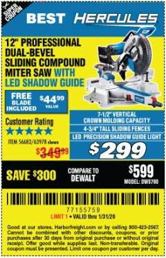 "Harbor Freight Coupon HERCULES PROFESSIONAL 12"" DOUBLE-BEVEL SLIDING MITER SAW Lot No. 63978/56682 Expired: 1/31/20 - $299"